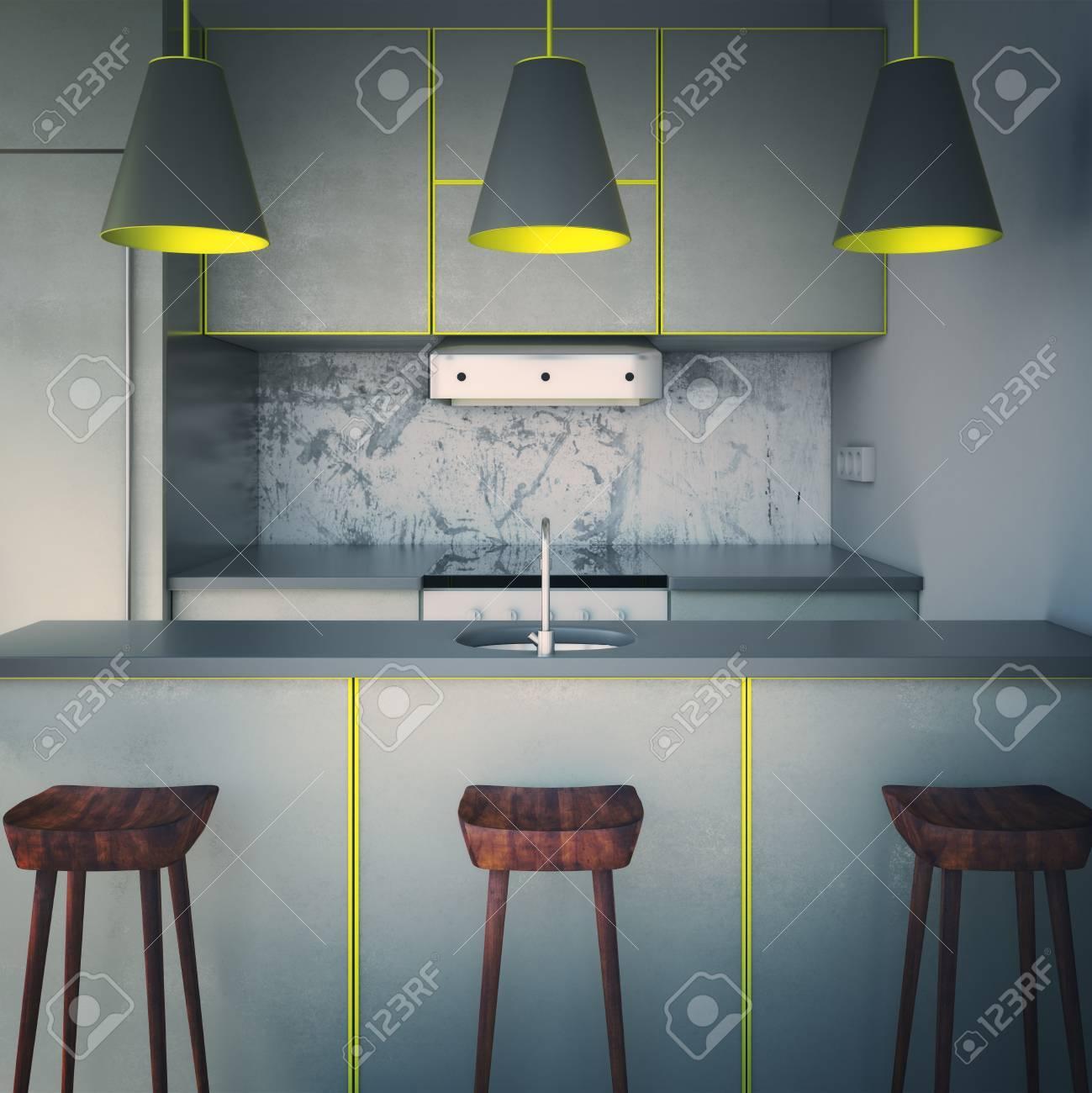 Diseño Gris Moderno Interior De La Cocina Con Tres Lámparas Y Sillas ...