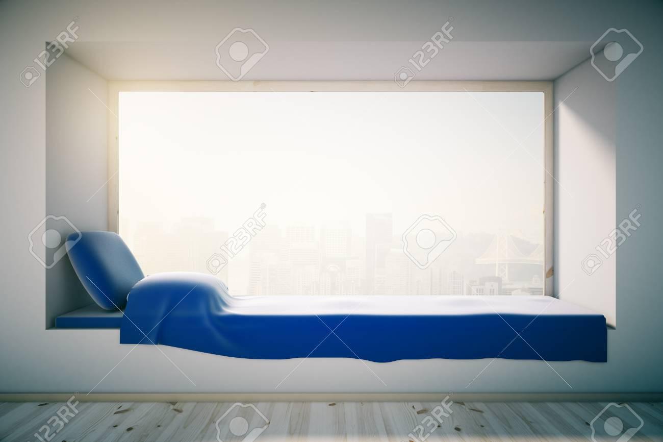 Design della camera da letto a soppalco con davanzale blu e finestra con  vista città illeggibile. Rendering 3D