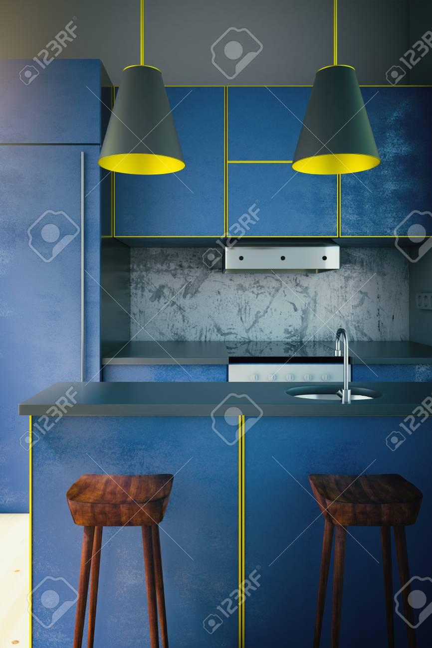 Diseño Interior De La Cocina Azul Moderno Con Dos Lámparas Y Sillas ...
