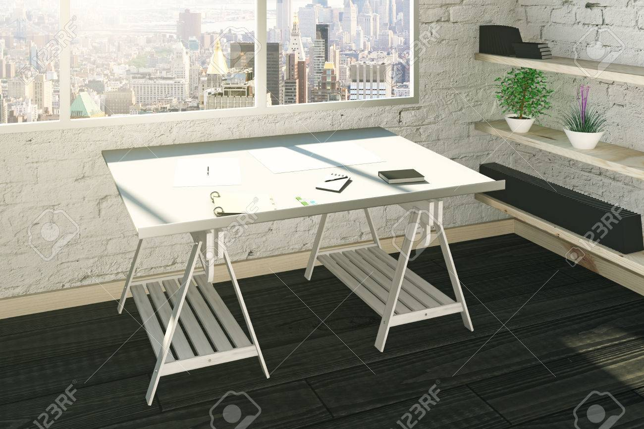 work place in studio interior with brick walls city view and