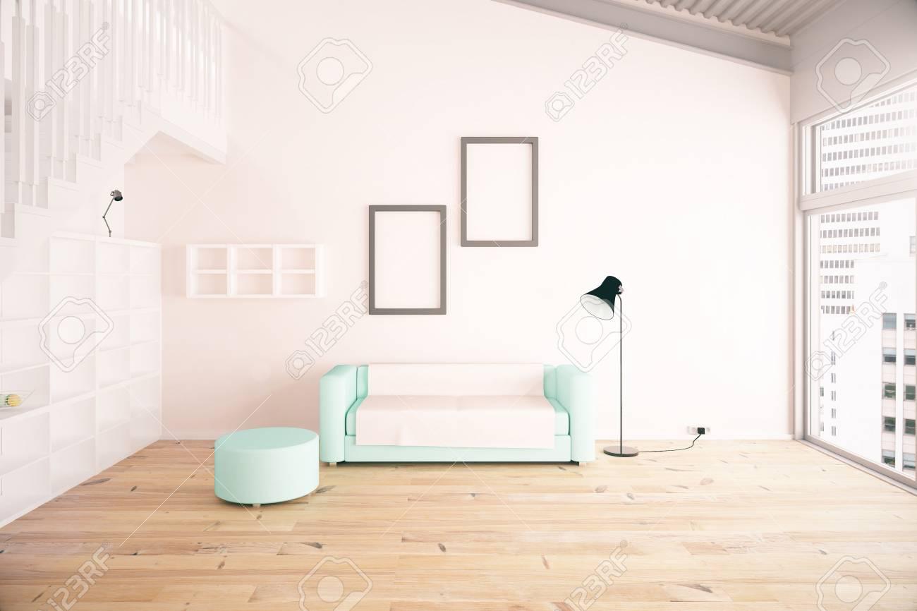 Wohnzimmer Inter-Design Mit Blauen Sofa, Leere Bilderrahmen, Regale ...