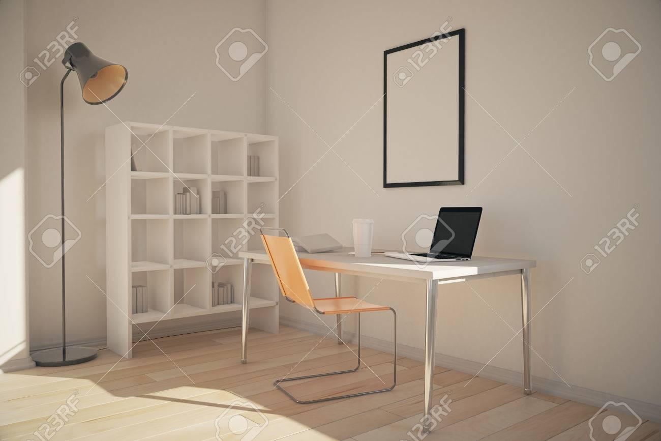 Interior De La Oficina Con Los Estantes, Lugar De Trabajo Con El ...
