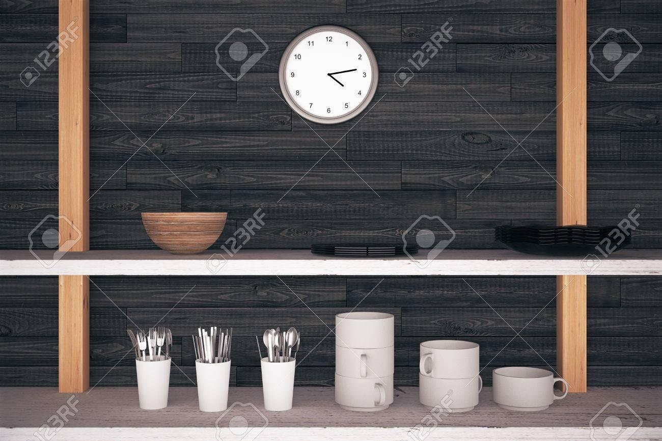 Küchenregale Mit Besteck Und Geschirr Auf Dunklem Holz Wand Und Eine ...