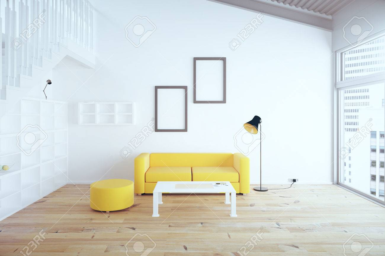 Living Room Interior Design With Yellow Sofa Blank Picture Frames