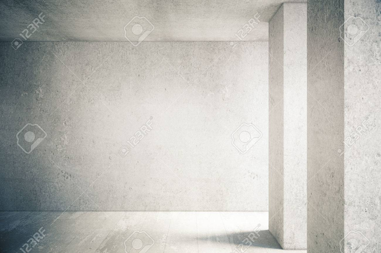 Sunlit interior with blank concrete wall and floor. Mock up - 54117433