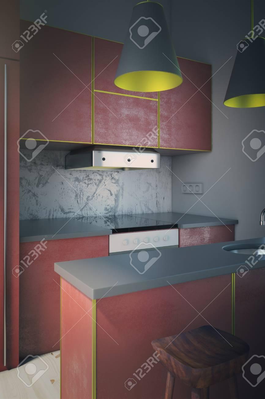 Seitenansicht Der Modernen Roten Küche Interieur Mit Zwei Lampen Und ...