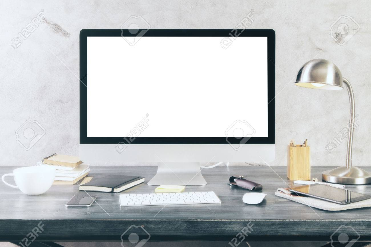 Creative desktop with blank white computer screen and other itmes. Mock up - 54584987