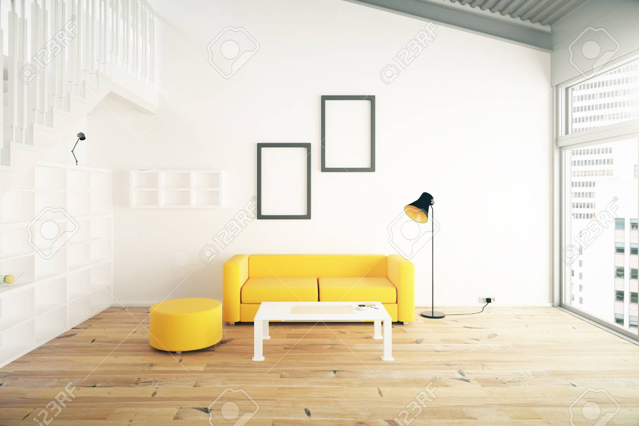 Living Room Interior Design With Yellow Sofa, Blank Picture Frames ...