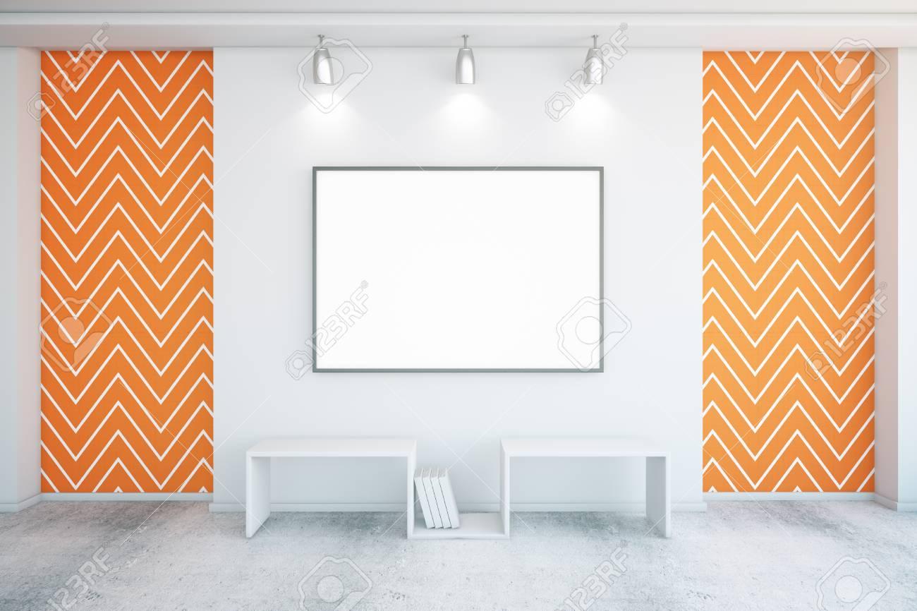 Blank Bilderrahmen In Beton Zwischen Den Mit Orange Zickzack Tapete