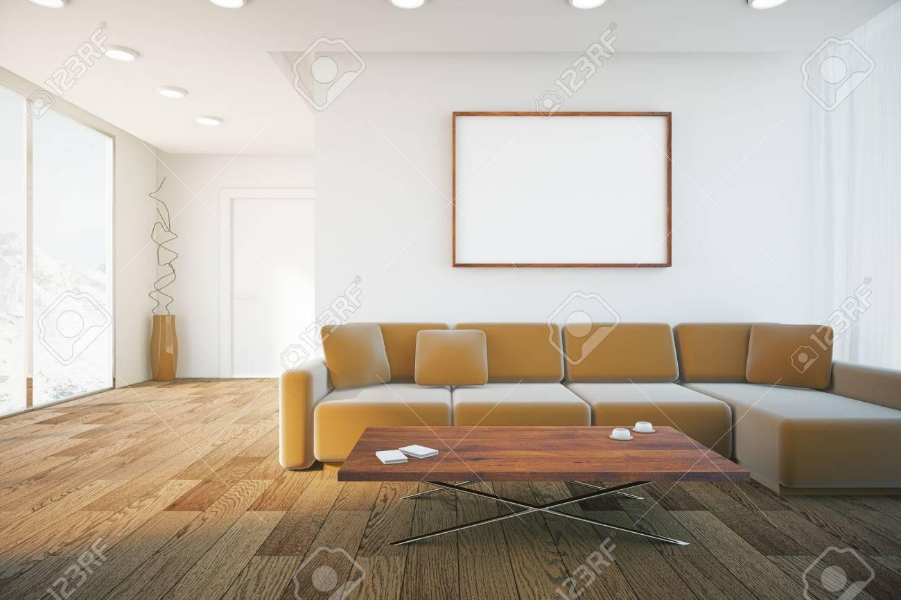 Cadre Au Dessus Du Canapé salon intérieur avec parquet, canapé brun et cadre photo vierge. mock up,  rendu 3d