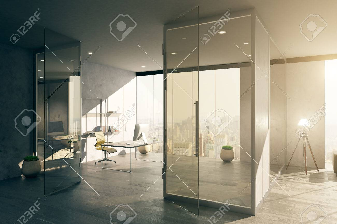 Foto Ufficio Moderno : Interno spazioso ufficio moderno con porta di vetro e vista sulla