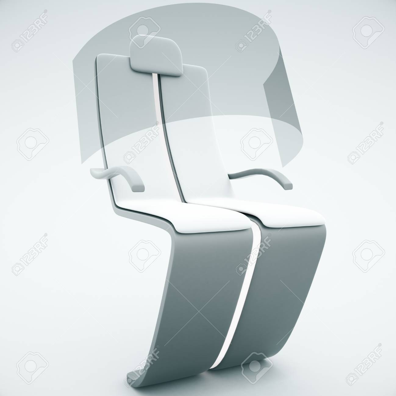 Superb Sideview Of Futuristic Chair With Shield On Light Background. 3D Rendering  Stock Photo   55983198