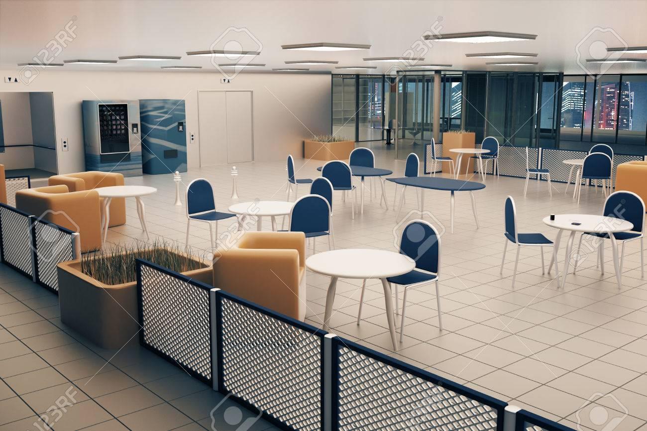 Interno mensa con pavimento di piastrelle quadrati luci sul