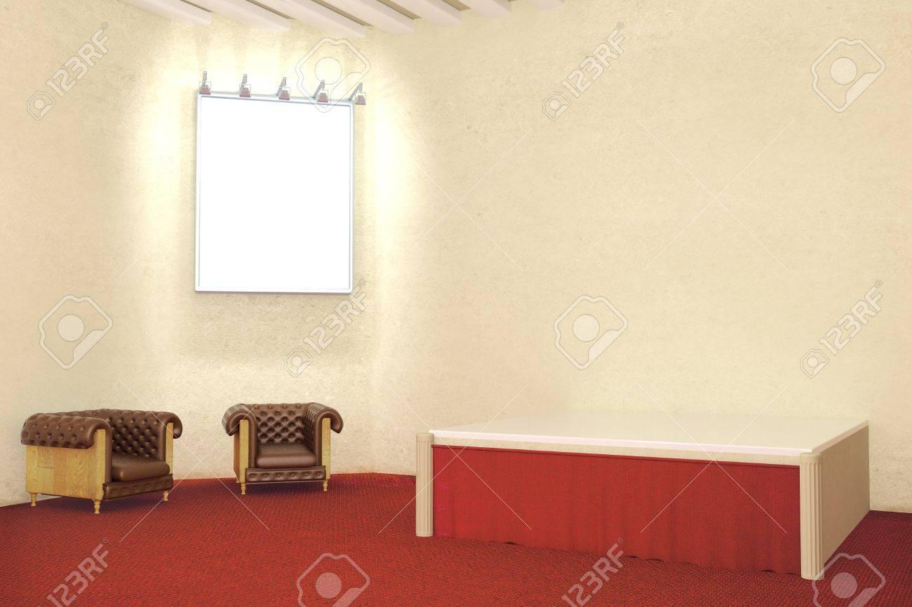 El Marco En Blanco Iluminado En La Habitación Con Pisos De Alfombra ...