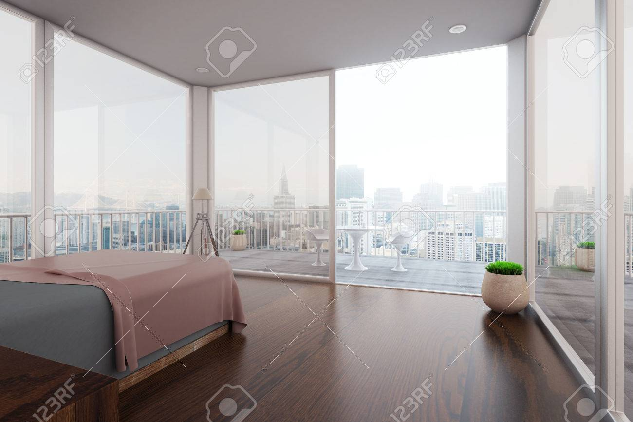 Stupendous Modern Spacious Bedroom Interior With Balcony And New York City Download Free Architecture Designs Rallybritishbridgeorg