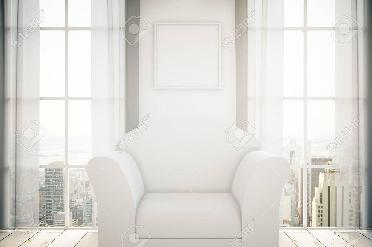 Weiße Sessel Im Raum Mit Leeren Bilderrahmen An Der Wand Zwei