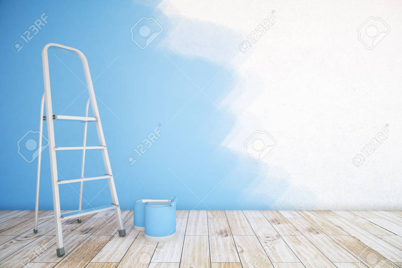 Room Interior With Unfinished Blue Wall, Paint Buckets, Ladder ...