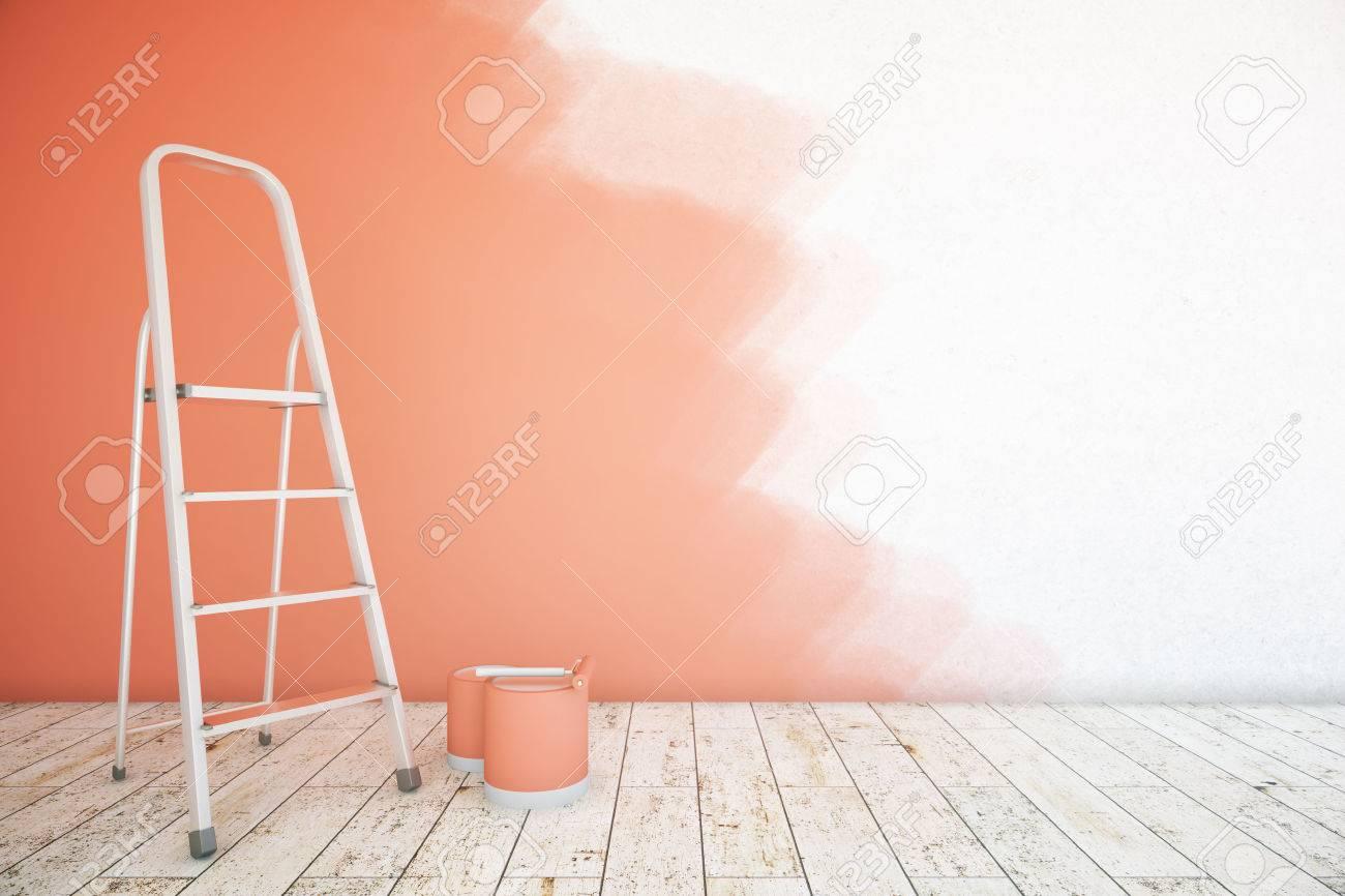 Intérieur De La Chambre Avec Un Mur Inachevé Rouge Des Seaux De Peinture échelle Et Plancher En Bois Maquette Rendu 3d