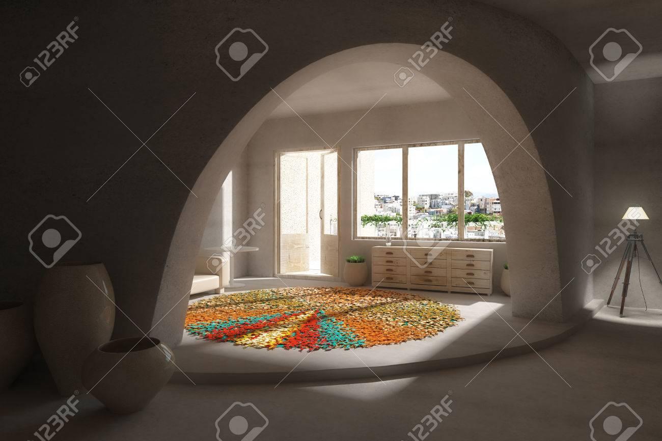 del diseo interior con jarrones decorativos muebles alfombras de colores de fondo y vistas