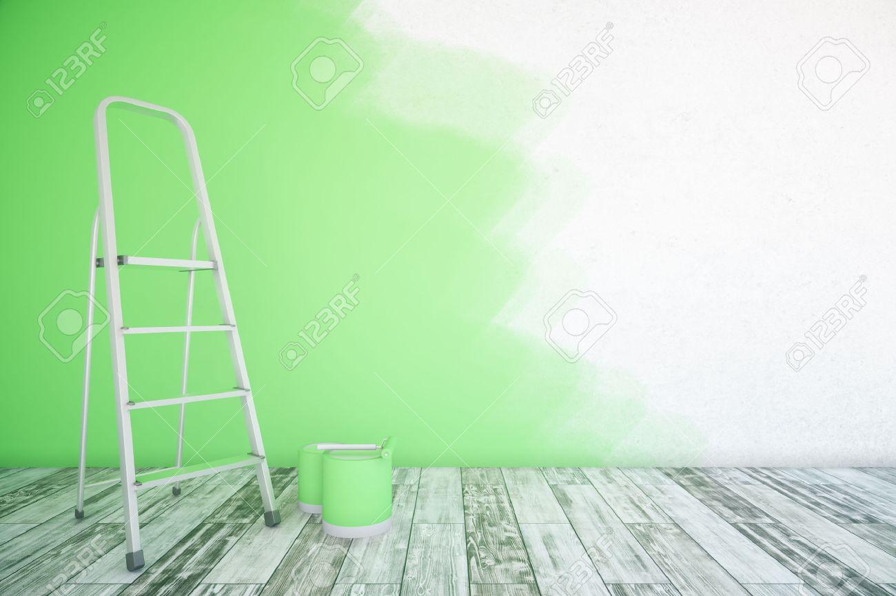 Intérieur De La Chambre Avec Un Mur Inachevé Vert Des Seaux De Peinture échelle Et Plancher En Bois Maquette Rendu 3d