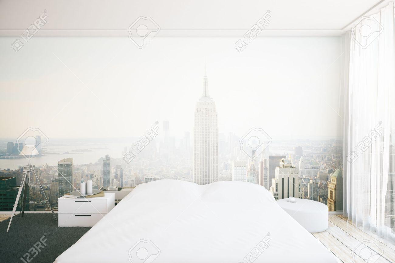 Interni della camera da letto creativi creativi con la carta da parati  della città di New York. Rendering 3D