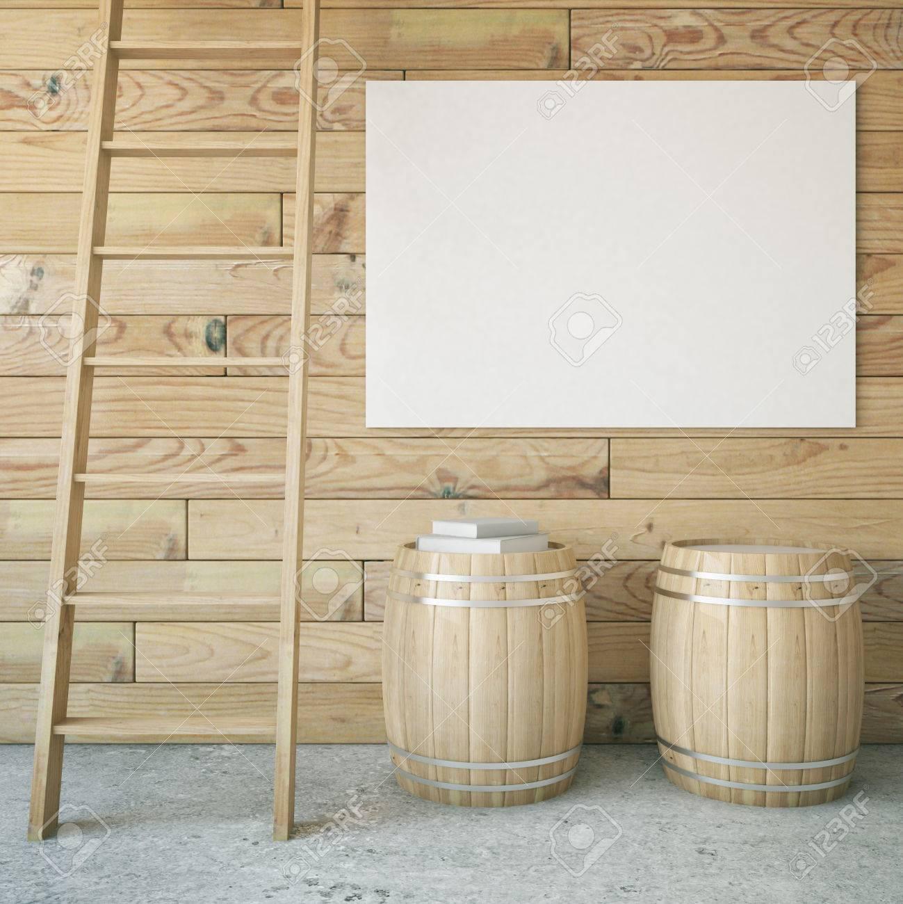 Holz Interieur Mit Leiter Zwei Fässer Und Leere Plakatwand Mock Up