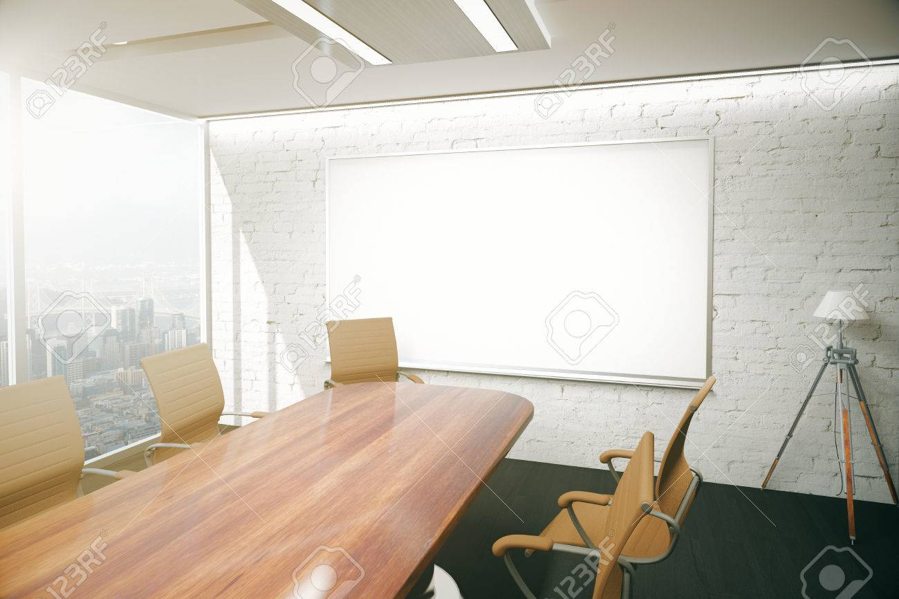 Modern Conference Room Interior With Wooden Table, Chairs, Floor Lamp And  Blank Whiteboard On