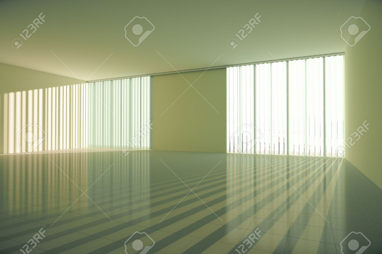 Empty spacious interior with shiny tile floor windows with blinds empty spacious interior with shiny tile floor windows with blinds concrete ceiling and blank dailygadgetfo Images