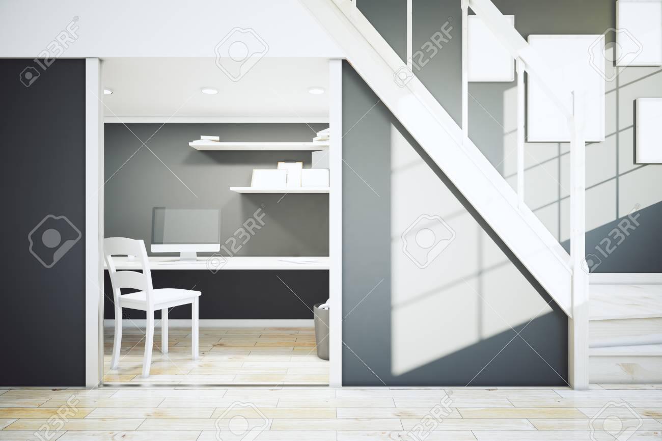 Design d\'intérieur avec plancher en bois, mur noir, escalier et lieu de  travail. rendu 3D