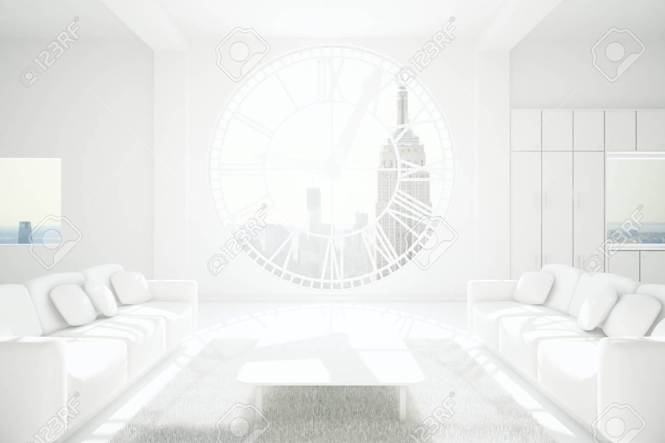 Blanc Salon Meublé Inter Design Avec Des Murs En Béton, Tapis, Table ...