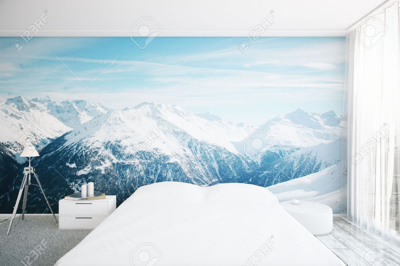 Good Wallpaper Mountain Bedroom - 58652930-creative-furnished-bedroom-interior-with-snowy-mountain-top-wallpaper-3d-rendering  Photograph_894079.jpg