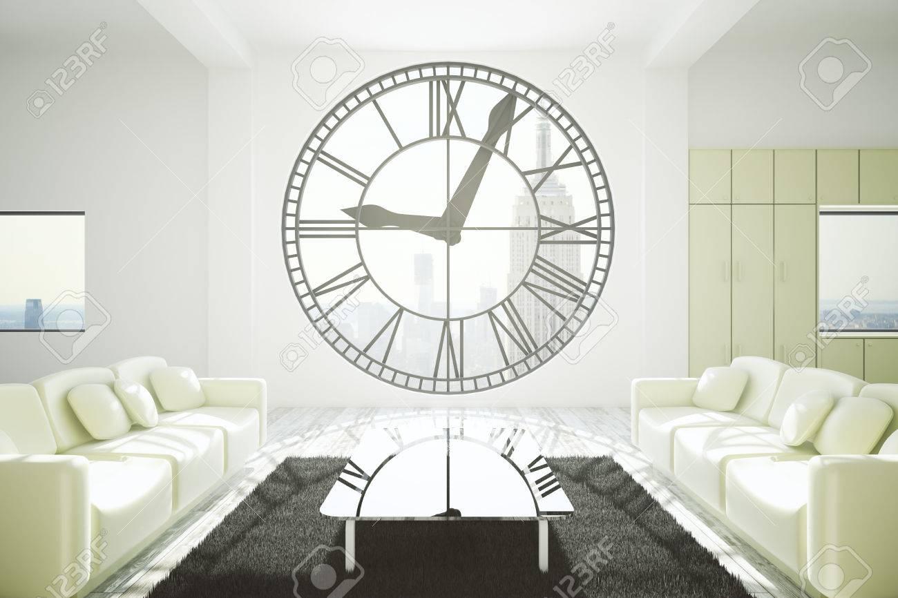Furnished Living Room Interior Design With Concrete Walls, Carpet ...