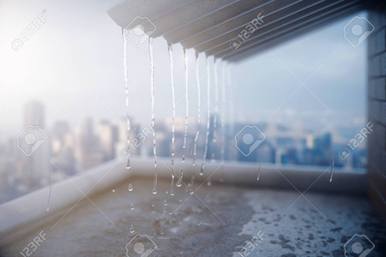 Rain pouring off roof on city background. 3D Rendering - 123821296