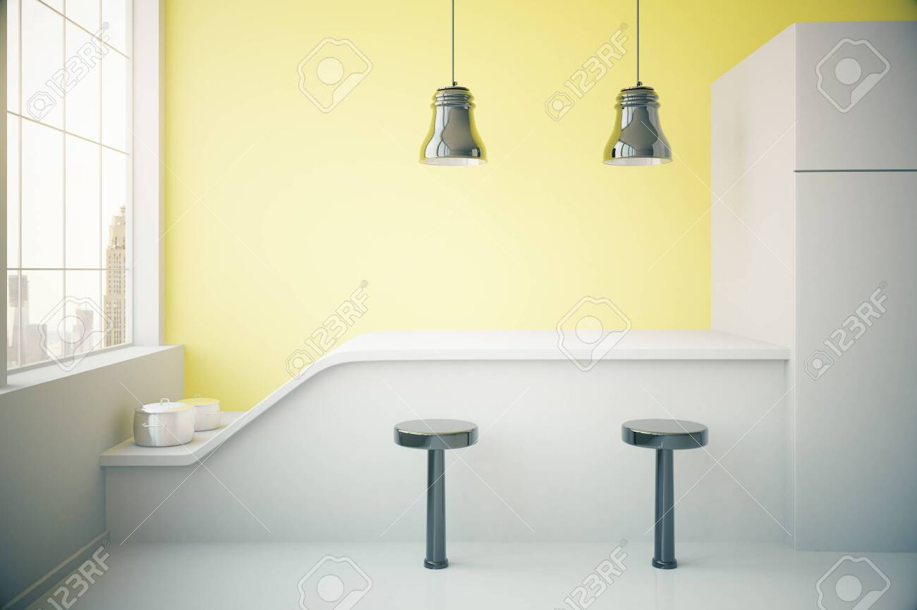 Magnificent Yellow Kitchen Interior With Fridge Countertop Two Stools Ibusinesslaw Wood Chair Design Ideas Ibusinesslaworg