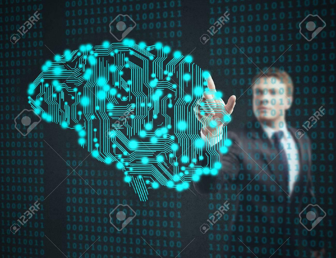 businessman touch circuit board in form of human brain Standard-Bild - 60027441