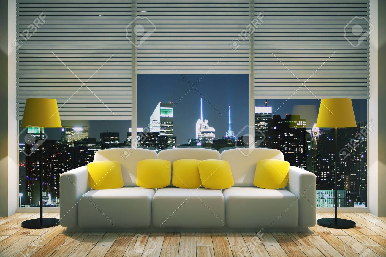 Front view of modern living room interior with yellow pillows..
