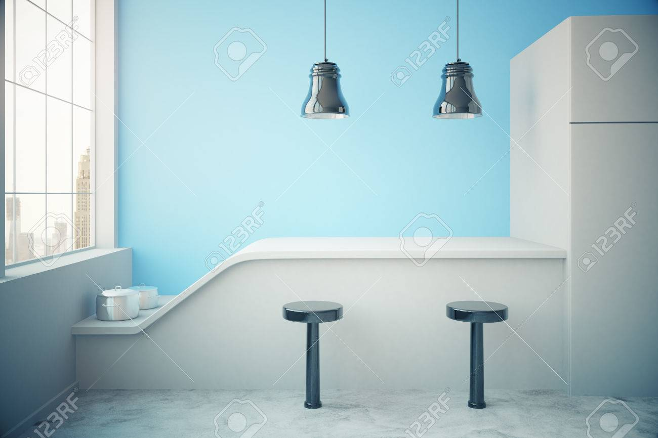 Blue kitchen interior with fridge countertop two stools cooking blue kitchen interior with fridge countertop two stools cooking pans ceiling lamps mozeypictures Image collections