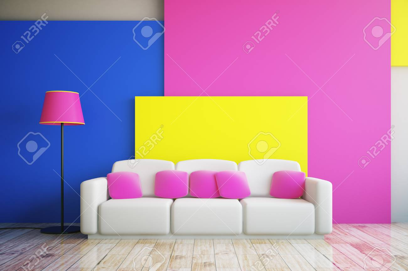 Vibrant Pink, Blue And Yellow Living Room Interior Design With ...