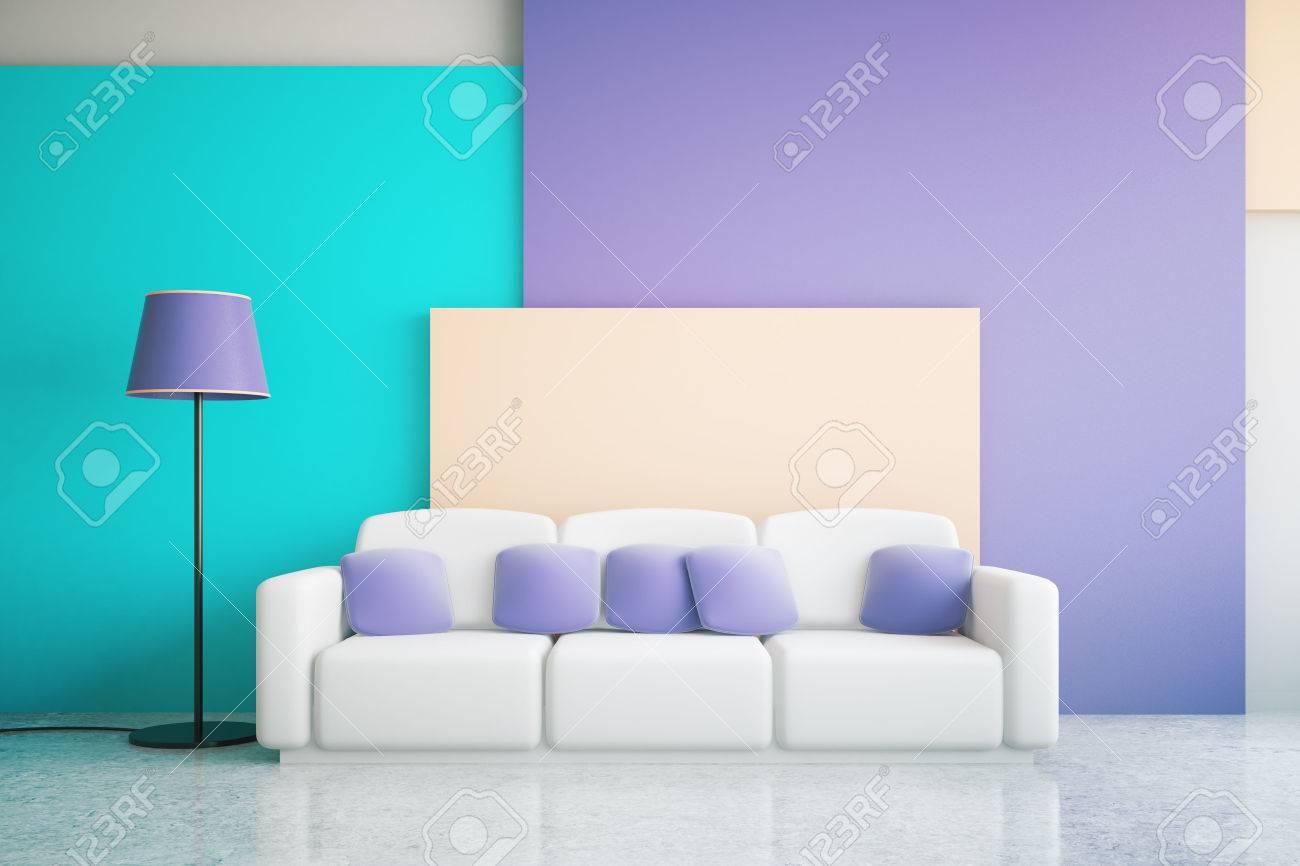 Lila Wohnzimmer, vibrant blau und lila wohnzimmer interieur mit großen sofa und, Design ideen