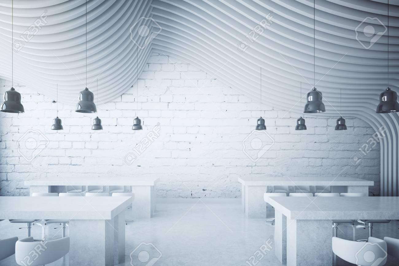 Blanco comedor de ladrillo con lámparas y abstracto redondo de techo con  diseño. Representación 3D