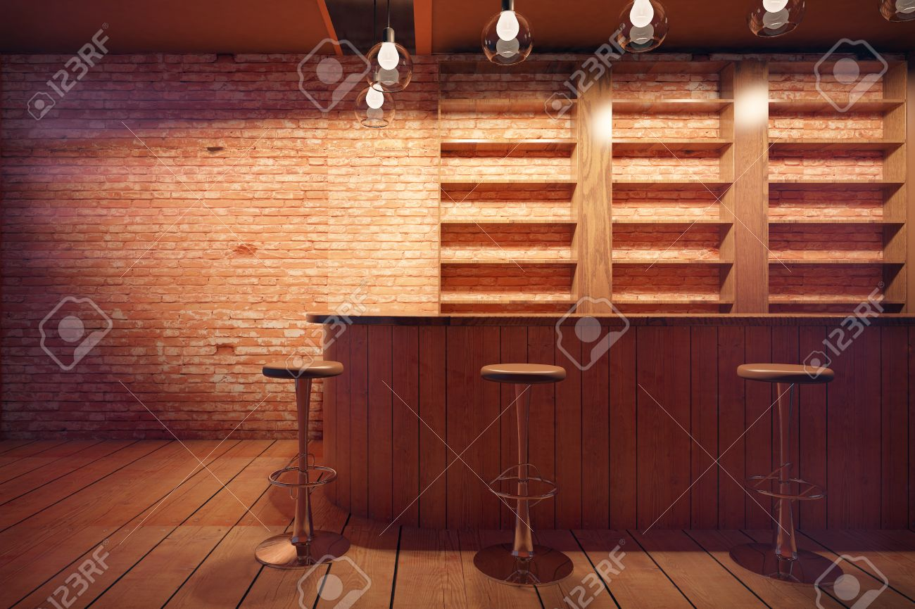 Interior wooden shelves free vector - Bar Decoration Bar Interior With Wooden Counter Stools And Shelves On Brick Wall Background