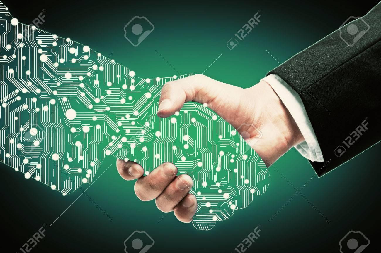 Businessman shaking digital partners hand on green background - 61106444
