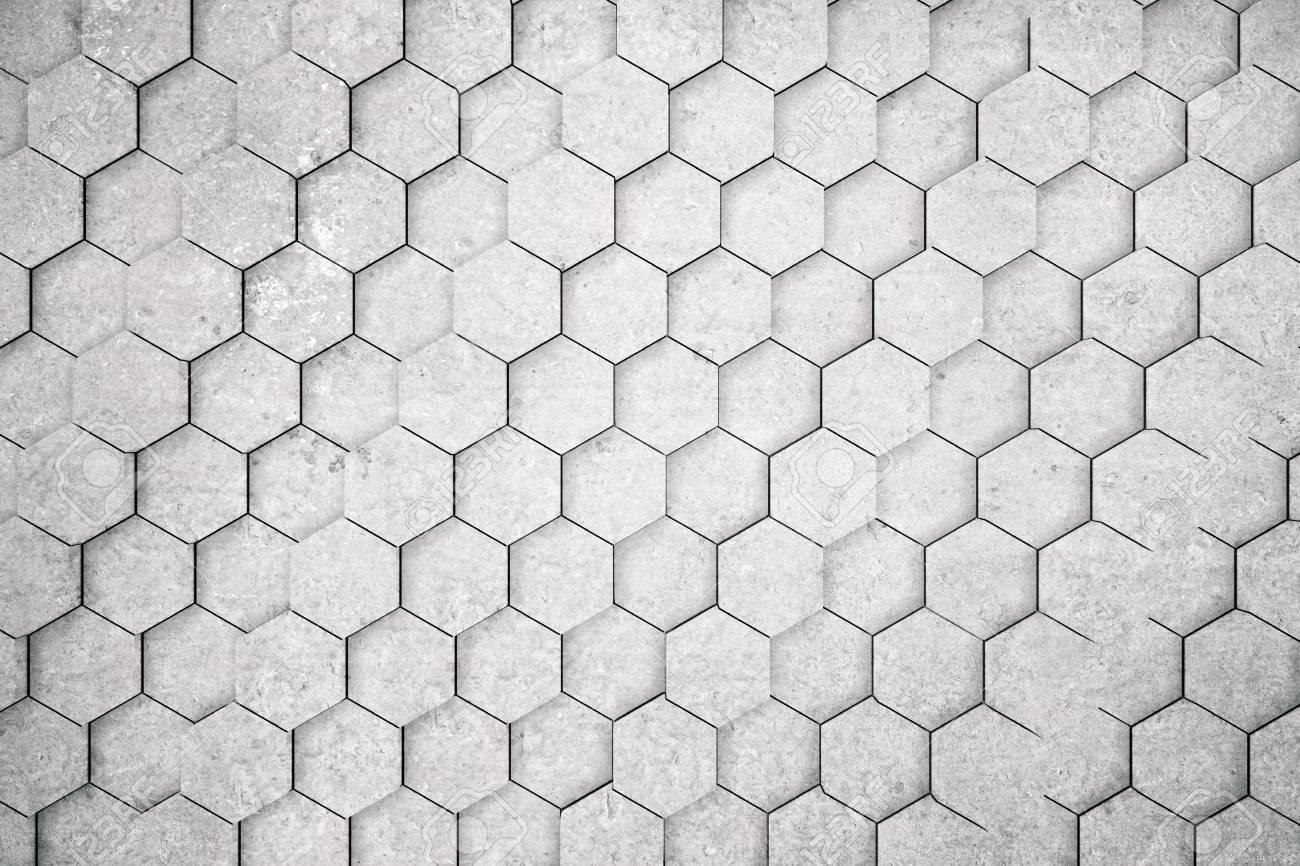 Fond De Nid D\'abeilles Béton / Hexagone / Papier Peint. Rendu 3D ...