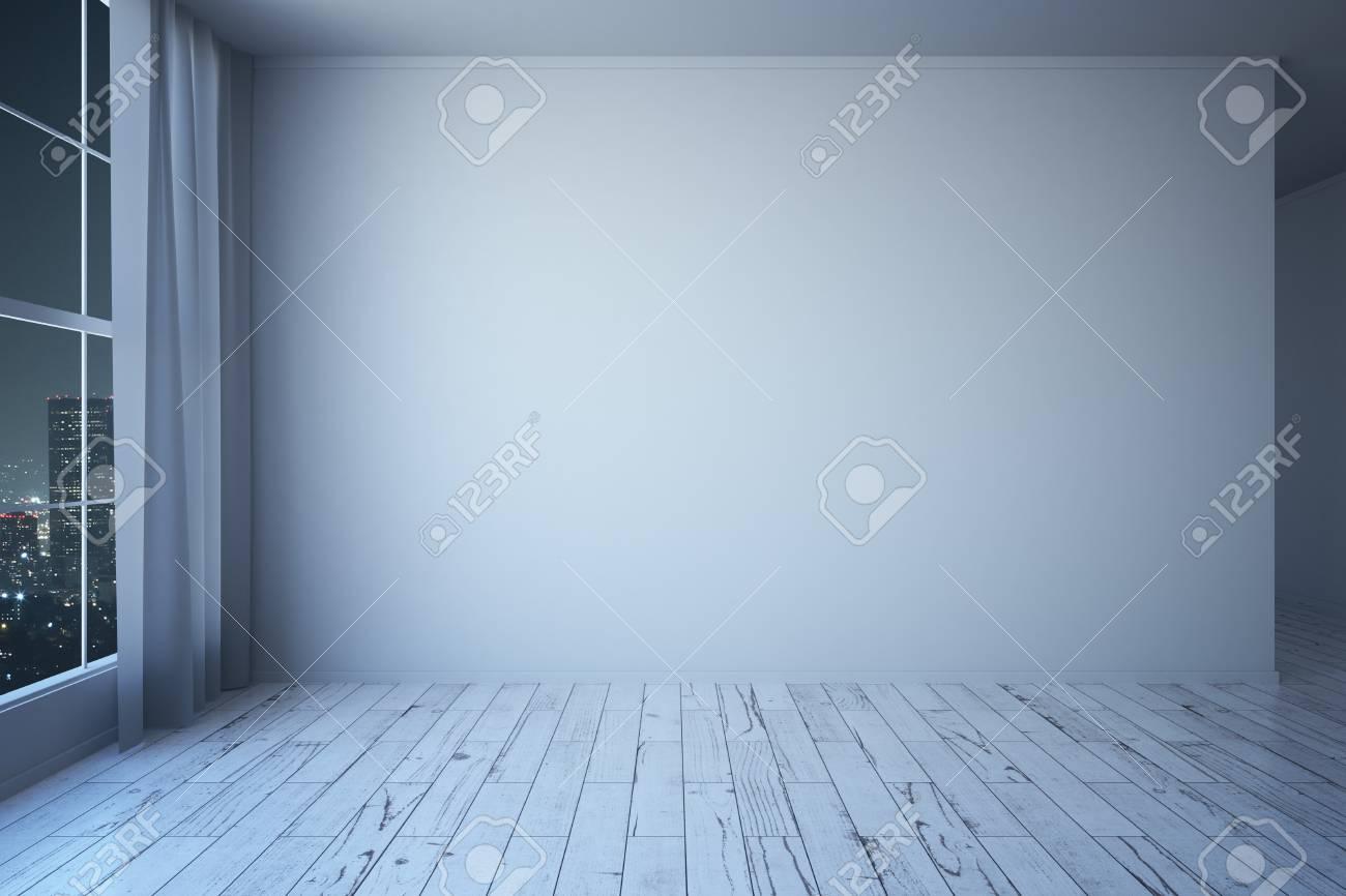Seitenansicht des weißen minimalistische interieur mit holzboden