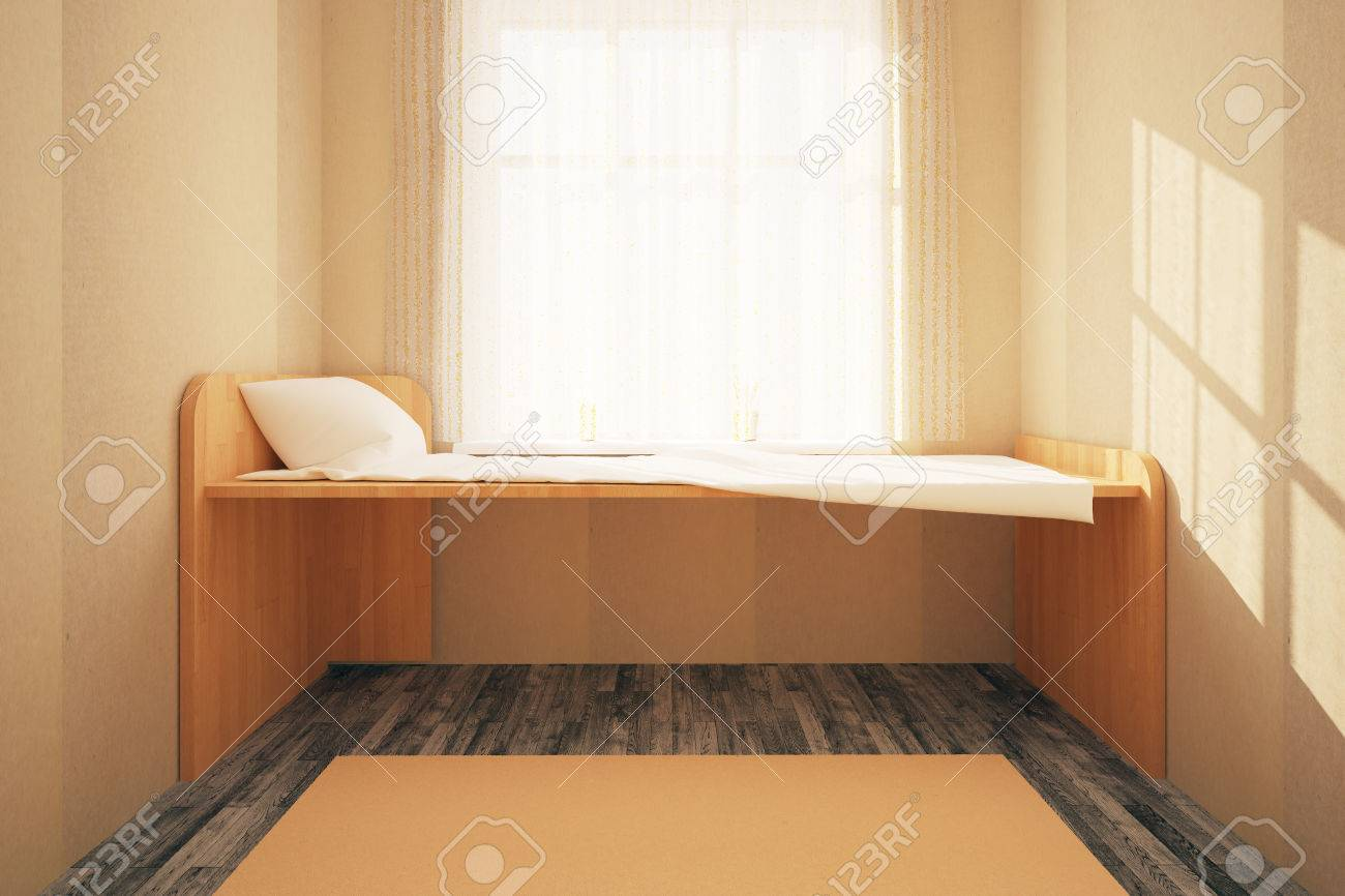 Minimalistic Bedroom Interior With Simple Wooden Bed, Wooden Floor,  Concrete Walls, Carpet And