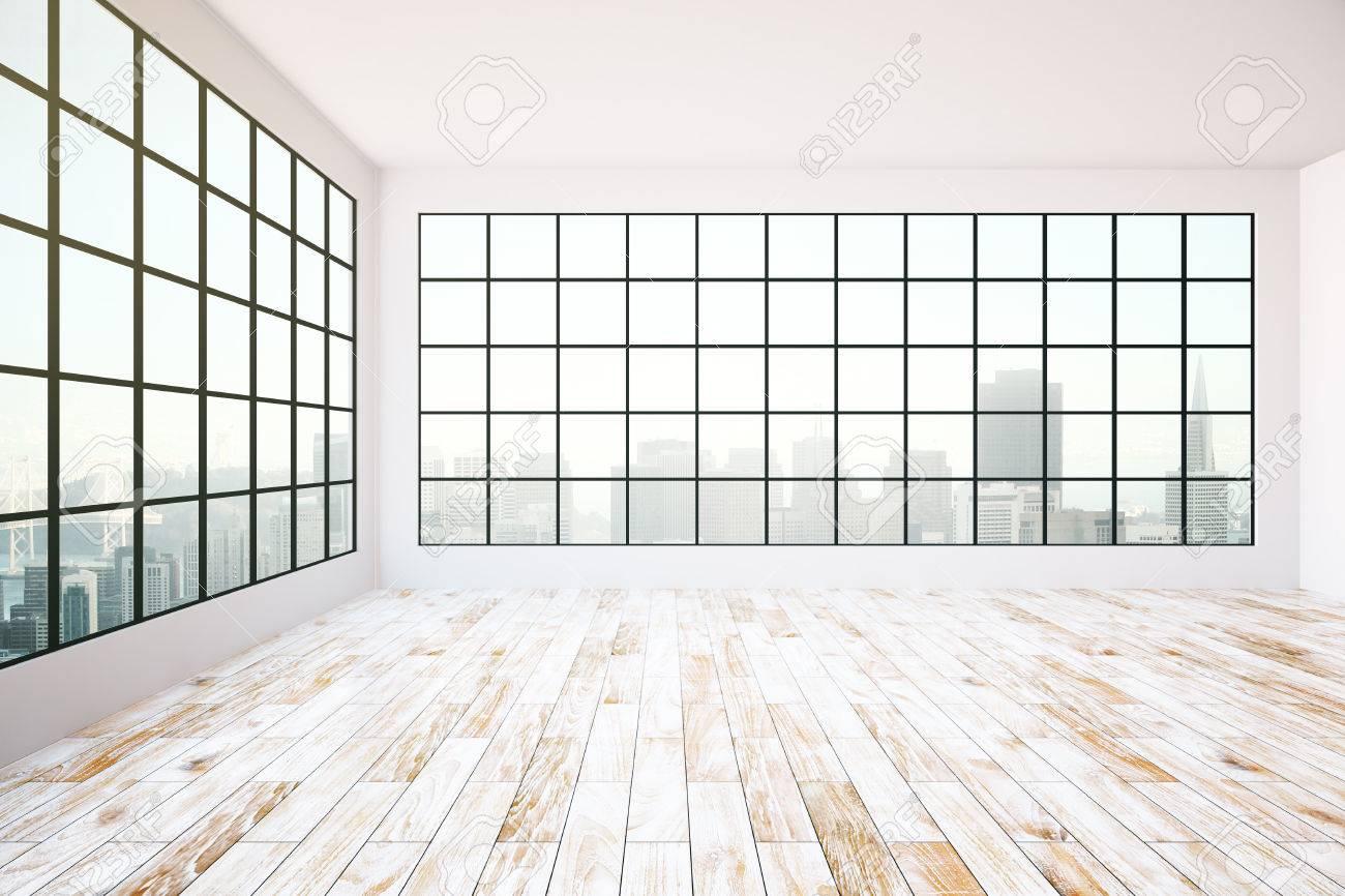 Leerer Innenraum-Design Mit Dunklem Rahmen Fenster, Blick Auf Die ...