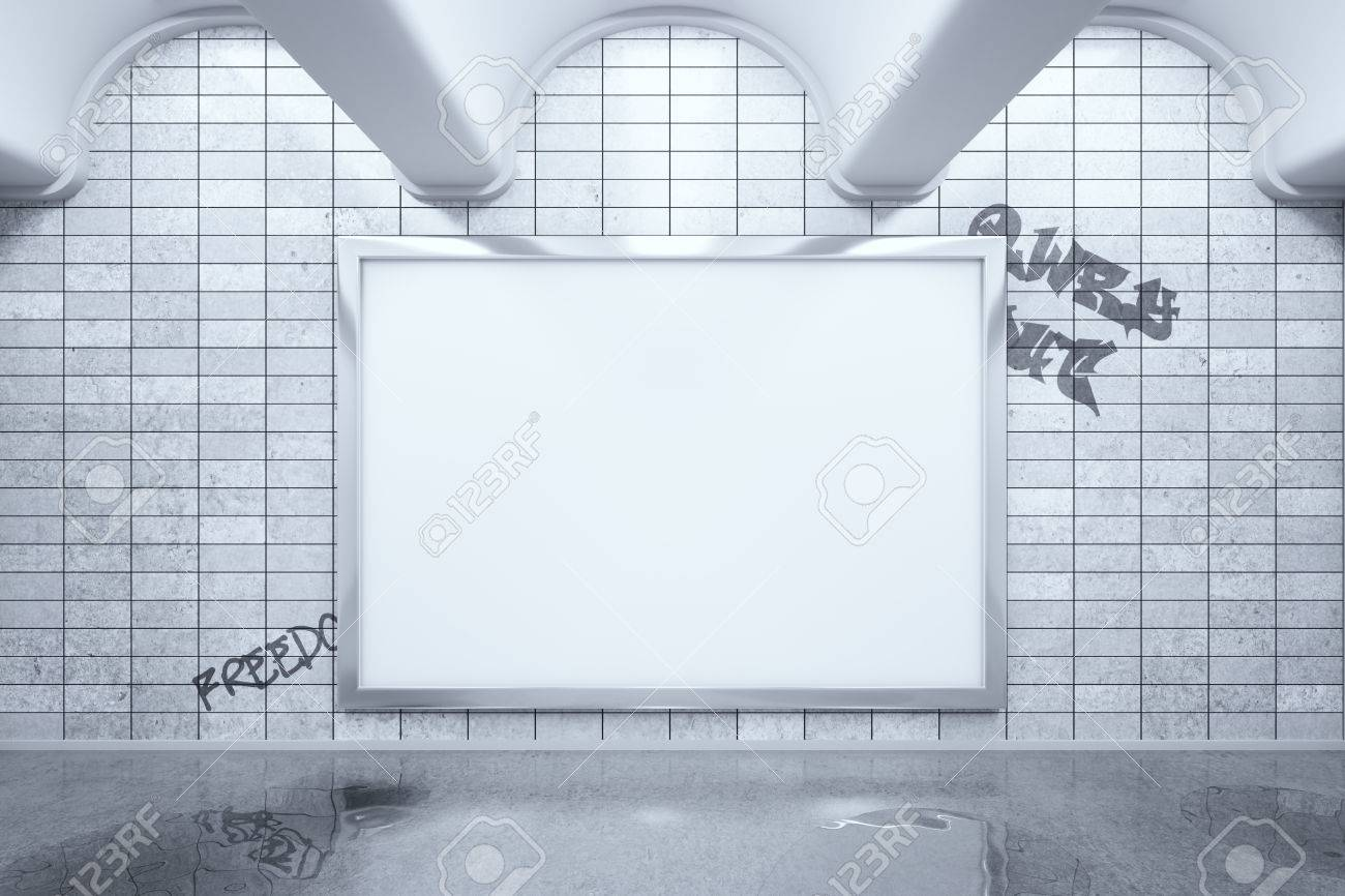 Metro Station With Blank Billboard Hanging On Grey Tile Wall.. Stock ...