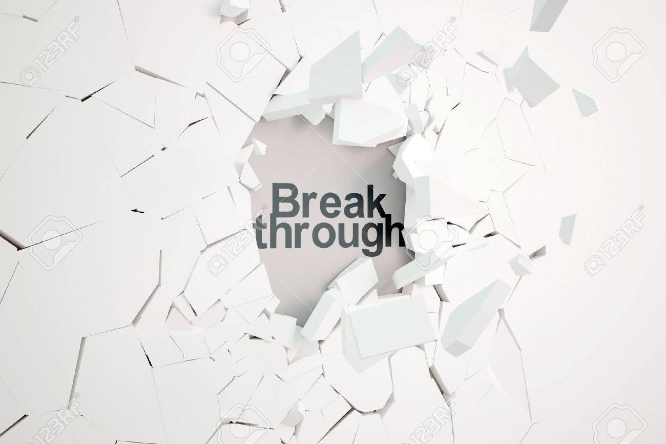 Break through concept with broken concrete wall and text. 3D Rendering Standard-Bild - 61611004