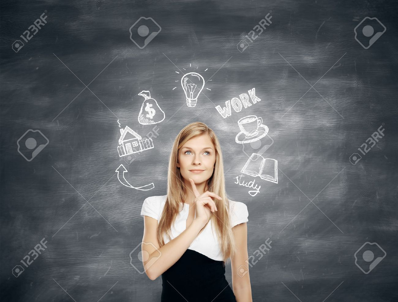 Pensive young business woman thinking about future job, education and financial growth on chalkboard background Standard-Bild - 61611008
