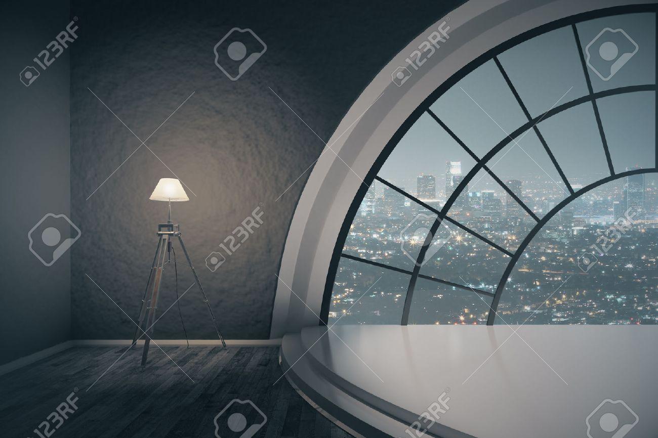 Design Dintérieur Avec Escalier Podium Lampadaire Et Fenêtre Ronde